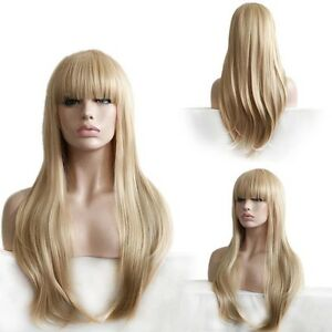 Custom Natural Light Blonde Full Straight Bangs Highlights Layer Wavy Womens Wig
