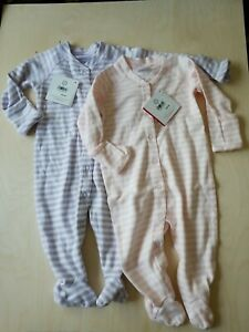 NWT HANNA ANDERSSON ORGANIC COTTON LITTLE STRIPE SLEEPERS WITH FEET SIZE 60 3-6M