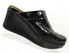 Women's Naot Black Patent Leather Reptile Textured Wedge Mules Size 38