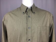 Eddie Bauer Olive/Tan 100% Cotton Long Sleeve Button Down Dress Shirt Tall Large