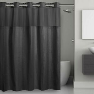 Hookless® Waffle Fabric Shower Curtain and Snap-in Liner Set In Black