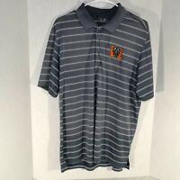 ADIDAS Mens Size L Polo Shirt MERCER University Bears Logo Gray Stripes