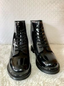 Patent Leather Boots Mens Size 8 Round Toe No Slip Water Proof Lace Up