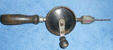 "Vintage (Stanley #No. 1221) 10-1/2"" Egg Beater Hand Crank Drill - 3 Jaw Chuck"