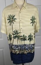 Mens Size L Hawaiian Aloha Palm Trees Yellow Button Front John Ashford Shirt