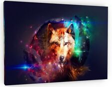 ABSTRACT SPACE WOLF CANVAS PICTURE PRINT WALL ART CHUNKY FRAME LARGE 799-2