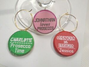 Personalised ONE NAME Wine Glass Charms Slogan Gold Silver Rings 20 colours 30mm