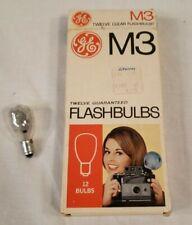 Vintage GE M3 Twelve (Box of 12 NEW + 1) Clear Flashbulbs Camera Flash Bulbs