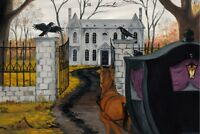 CROW HORSE RYTA 4X6 PRINT OF PAINTING GOTHIC VINTAGE STYLE HALLOWEEN MANOR JOL