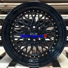 XXR 536 Black Gold Rivets 15 x 8 +0 Deep Lip Wheels Rims Toyota Celica GTS 5MGE