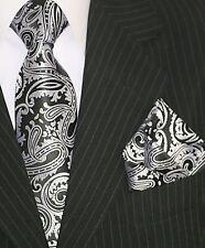 Binder de Luxe Designer Krawatte Einstecktuch Krawatten Set Tie 103 schwarz