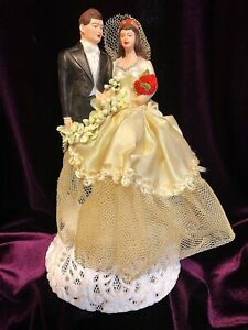 RESTORED Vintage 40's Chalkware Wedding Cake Topper Ivory Satin Tulle Red Roses