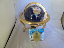 BLUE LAPIS GEMSTONE TABLE TOP WORLD GLOBE W/ GOLDSTAND & COMPASS & PAPERWORK