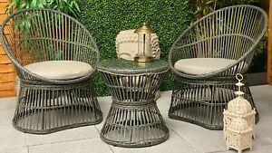 Tahiti Still Rattan Bistro Set Outdoor/Indoor Furniture- 2 Chairs & Coffee Table
