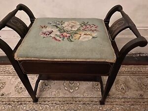 Antique Victorian Inlaid Mahogany Piano Stool Lift-up Lid Embroidered Cover