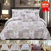 Modern Quilted Bedspread Bed Throw Vintage Printed Patchwork Double & King Sizes
