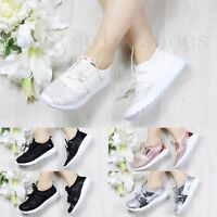 WOMENS LADIES DIAMANTE RUNNING TRAINERS FITNESS LIGHT WEIGHT SPORT LACE UP SHOES