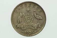 1926 Sixpence Variety Twin Heavy Die Cracks Behind Emu and Scroll