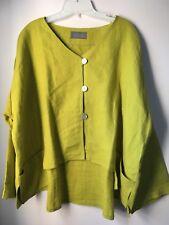 100% Linen Citron Green Boxy Jacket Size xl/xxl boho