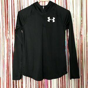 Girls Under Armour HeatGear Black 1/4 zip Long Sleeve Hooded Top Loose Fit Large
