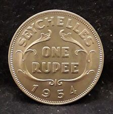 1954 Seychelles rupee, Elizabeth II, first year of the type, UNC, KM-13 (SE54A)