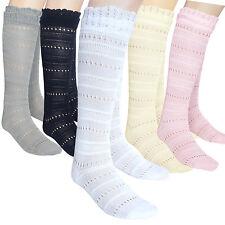 2 pairs school girls seamless knee high socks black white grey pink cream 4 size