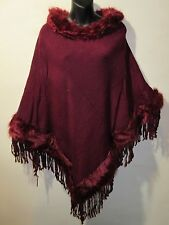 Fur Trim Poncho Sweater Coat Fits M L XL 1X 2X Plus Burgundy Red Fringe NWT 494