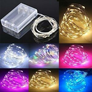 LED Battery Operated Copper Silver Micro Wire String Fairy Lights Warm White RGB