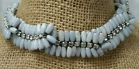 Vintage High End Unusual Hand Wired Blue Gray Glass Bead Rhinestone Necklace