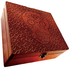 Large Wooden Stash Box with Inner Dividers & Latch Closure - Skull