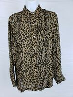 EUC Ralph Lauren Women's Leopard Size M 100% Silk Button Down Ultra Thin