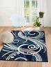 Area rug Smt#61 Dark/Light Blue, White soft pile size options 2x3 3x5 5x7 8x11
