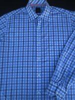 Tailorbyrd Mens Button Front Long Sleeve Cotton Multi Plaid Shirt Large L