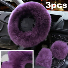Set Of 3 Car Furry Steering Wheel Cover Wool Fur Gear Knob Shifter Brake Cover