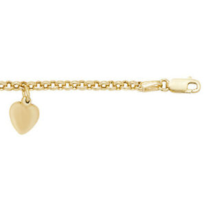 9ct Gold Belcher Link Chain with Heart Charm Feature 7.5 Inch Bracelet (122)