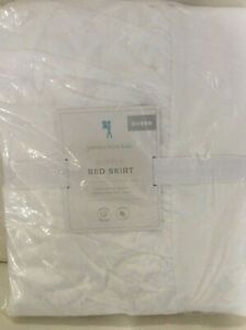 """Pottery Barn Kids Ruffle Queen Bed Skirt NWT! White 100% Cotton 16"""" Drop"""