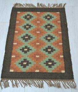 Kilim Rug Wool Indian 150x90cm 5x3' Kelim Orange Green Handmade Style MEXICO