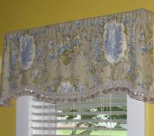 Valance French Country Farmhouse Waverly Rooster Floral Toile Blue Tassels Lined