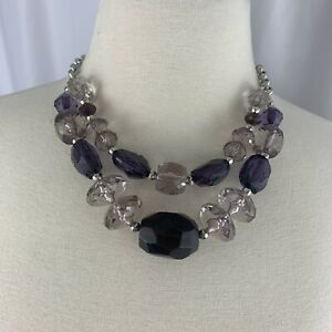 Chunky Acrylic Layered Necklace Purple Faceted Smoky Rondelle Rolo Chain Plastic