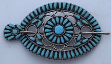 Pony tail holder Navajo Sterling & cluster Turquoise hair barrette Ivan Howard