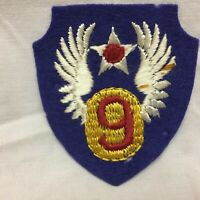 Military Patch Badge 9th USAAF Army Air Force WWII Embroidered on Felt Variant