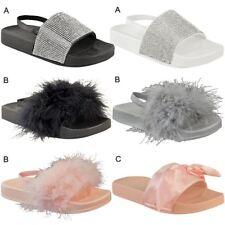 Kids Girls Summer Sandals Sliders Slip On Casual Flip Flops Holiday Slides UK