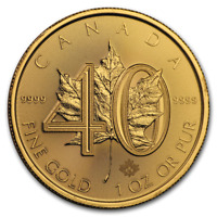 2019 Canada 1 oz Gold Maple Leaf 40th Anniversary BU