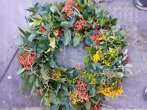 """Fresh Christmas Holly Ring Wreath Decoration 22"""" natural foliage & wild berries"""