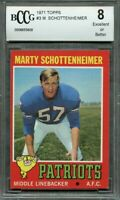 1971 topps #3 MARTY SCHOTTENHEIMER new england patriots rookie card BGS BCCG 8