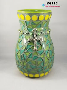 Green and teal Glass Tile Vase Mosaic Handmade by the Artist  VA115