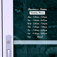 OPENING HOURS + SHOP NAME Window, Wall Sign Vinyl Decal Sticker, opening times 6