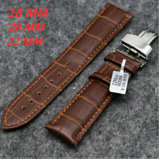 18mm/20mm/22mm Brown Unisex Adult Genuine Leather Watch Strap Replacement Strap