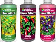 GH Flora Series 32oz Quarts TRIO FloraMicro FloraGrow FloraBloom $$ BAY HYDRO $$
