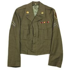 ORIGINAL US ARMY OD WOOL IKE DRESS JACKET - 1ST INFANTRY DIVISION BIG RED ONE